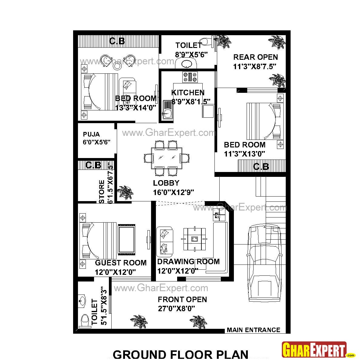 House Plan For 35 Feet By 50 Plot Size 195 Square Yards Gharexpert