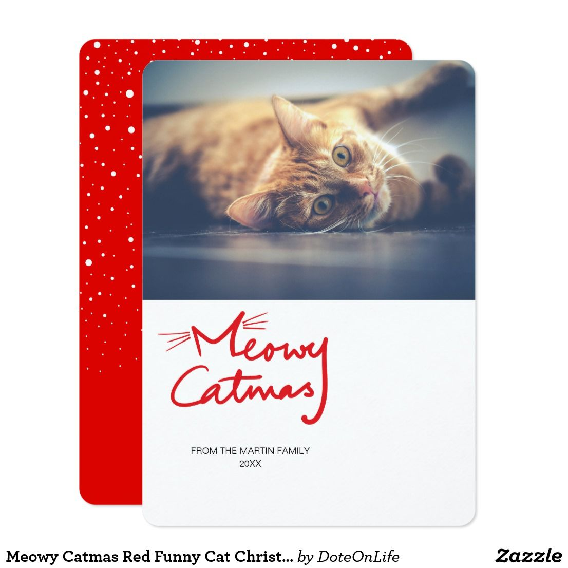 meowy catmas funny cat christmas photo card this custom