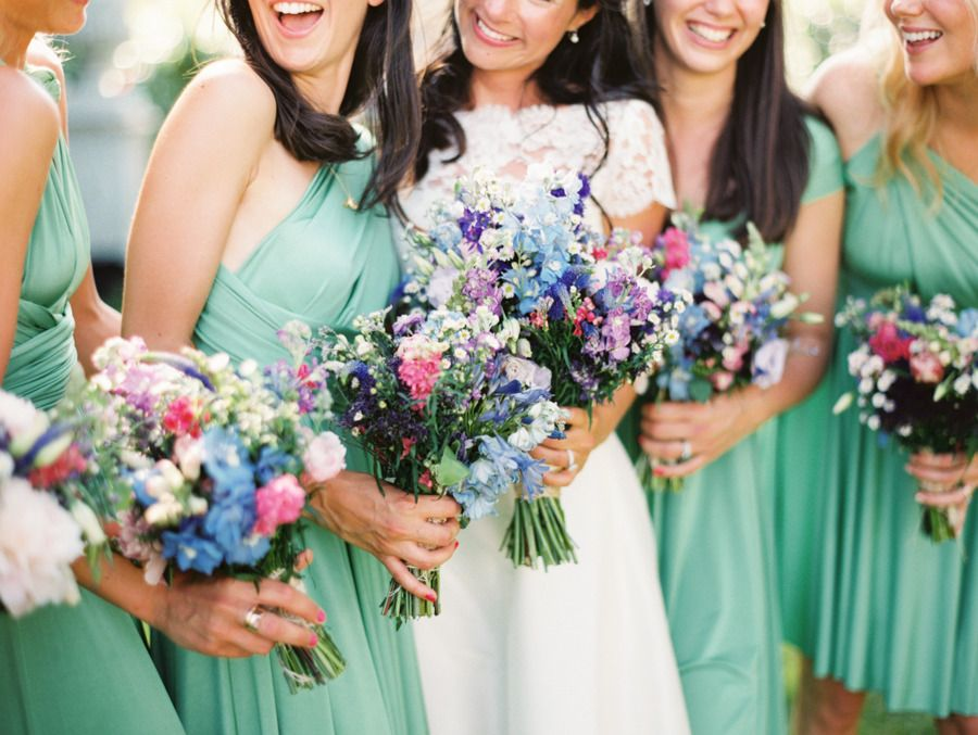 LOVE this color combo for bridesmaids and bouquets!! See more of the wedding on http://www.StyleMePretty.com/2014/04/08/romantic-french-chateau-wedding/ Photography: Erich McVey erichmcvey.com