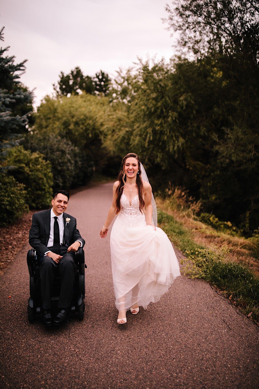 Denver Wedding Photographer Colorado Wedding At Stonebrook Manor Kathy Derek In 2020 Denver Wedding Photographer Wheelchair Wedding Denver Wedding