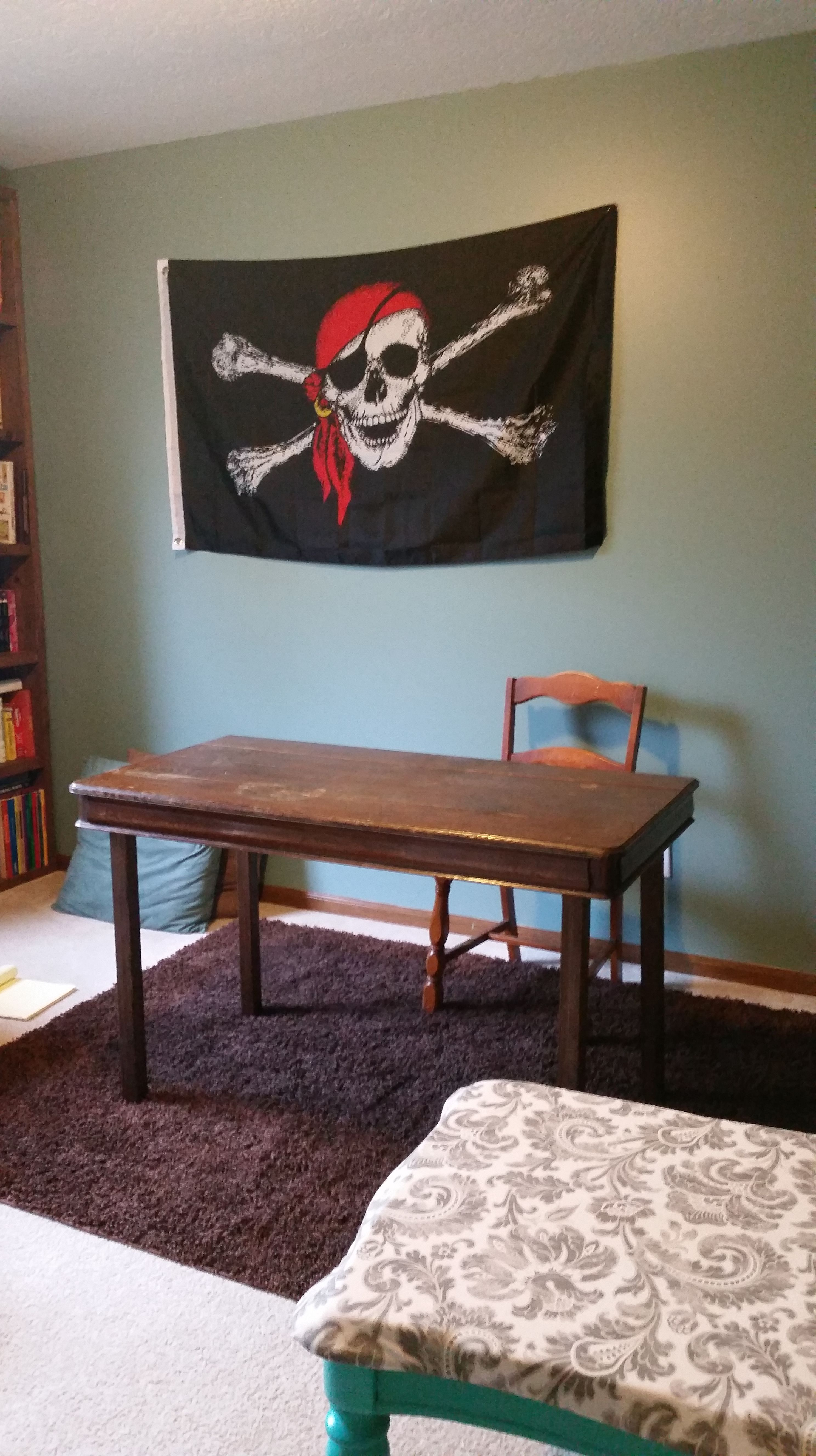 Creating a desk by repurposing items.