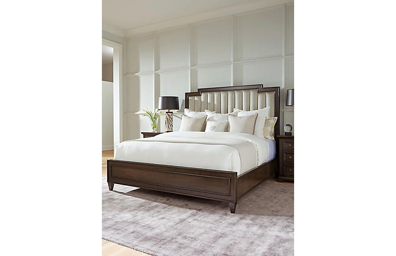 Best Candice Channeled Bed Gray Beige Bed Headboards For Beds Grey Bedding 400 x 300