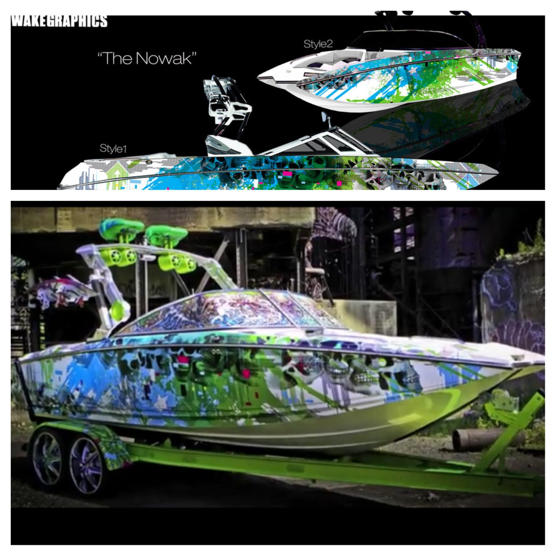 The Nowak | Shown here on a MasterCraft X55 boat vinyl wrap | Boat Wrap Designs | Wakeboard ...