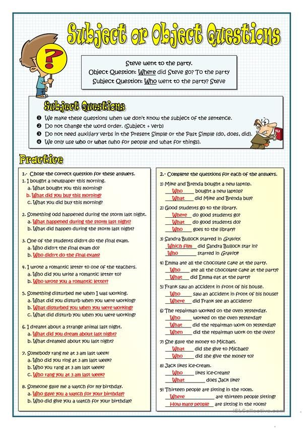 Subject Or Object Questions English Vocabulary Words Subject And Verb Writing Skills Subjects and verbs worksheets