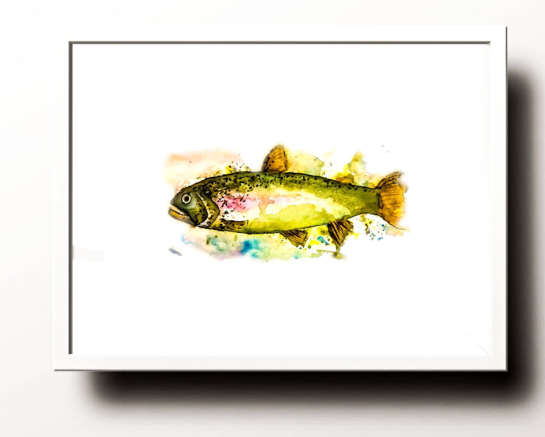 Watercolor Trout Digital Download Printable   Watercolor and Digital