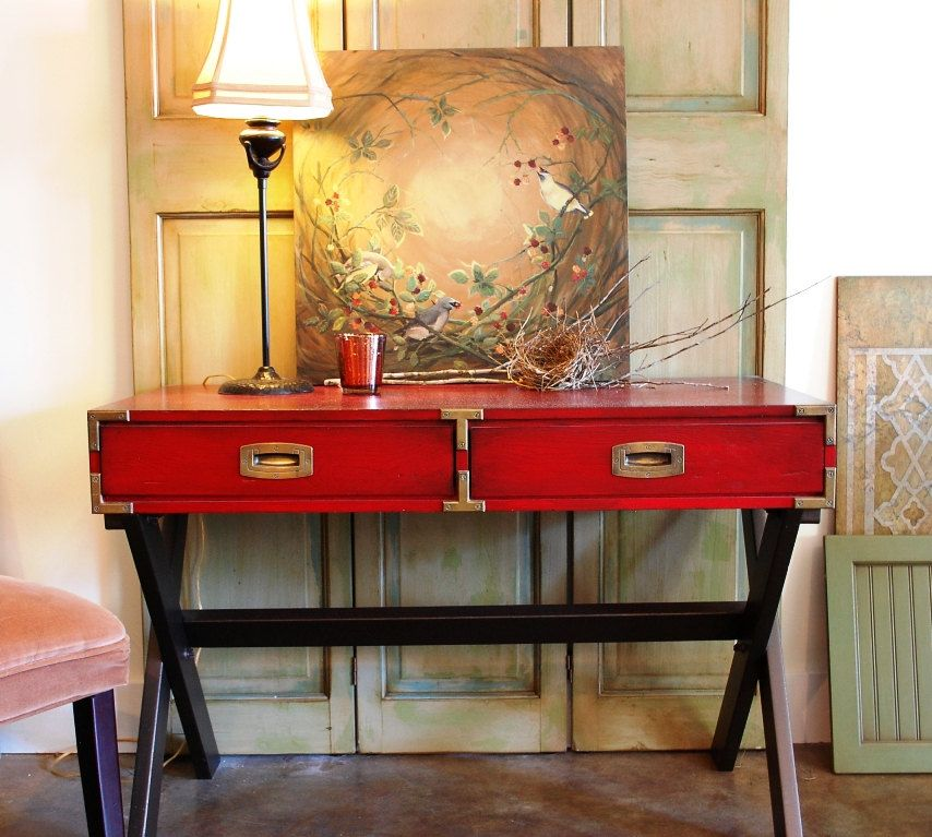 Vintage Hand Painted Table Campaign Style Sofa Table Entry