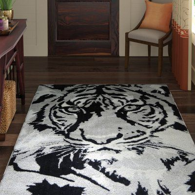 World Menagerie Maggiemae Tiger Design Cotton Black Grey Area Rug