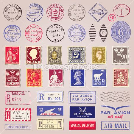 Vintage Postage Stamps Marks And Stickers Diseno De