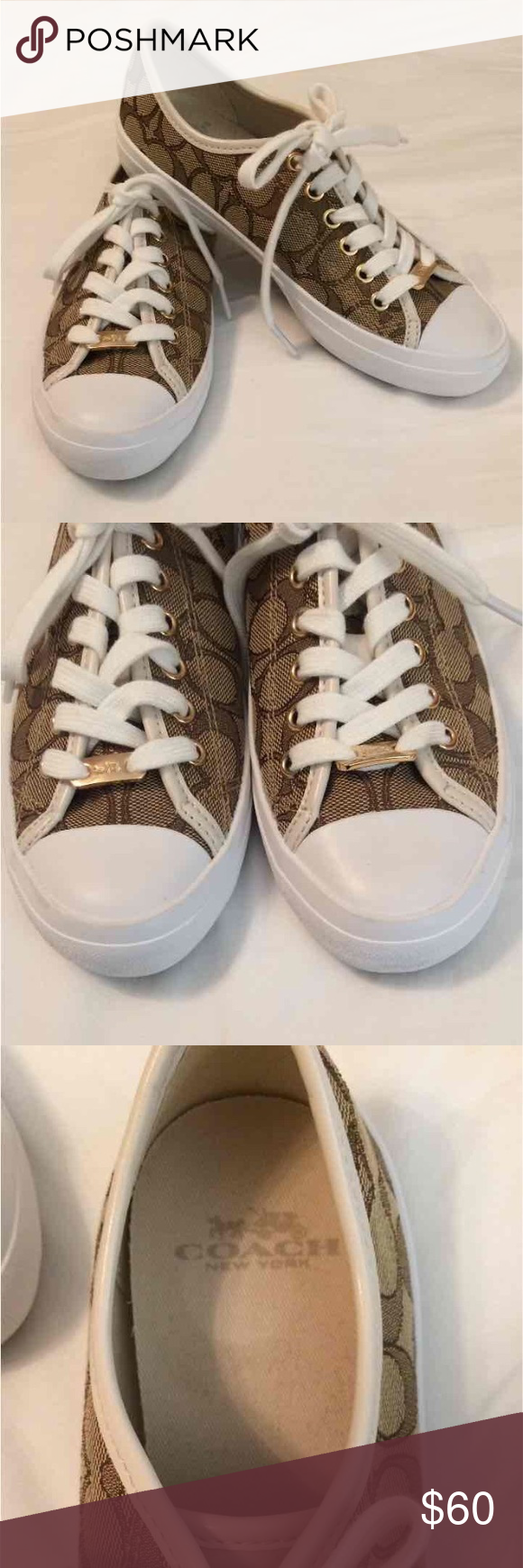 NEW Coach Tan Signature Tennis Shoes Coach Tan Signature Tennis Shoes Sneakers •NEW without tags •Two sizes available! Coach Shoes Sneakers