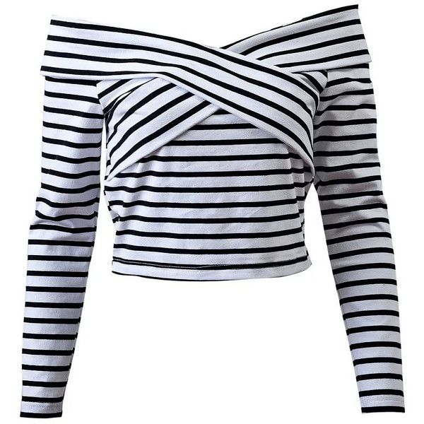 df422386069 Black And White Striped Off The Shoulder Top ❤ liked on Polyvore featuring  tops, stripe top, striped top, black and white top, black white top and  striped ...