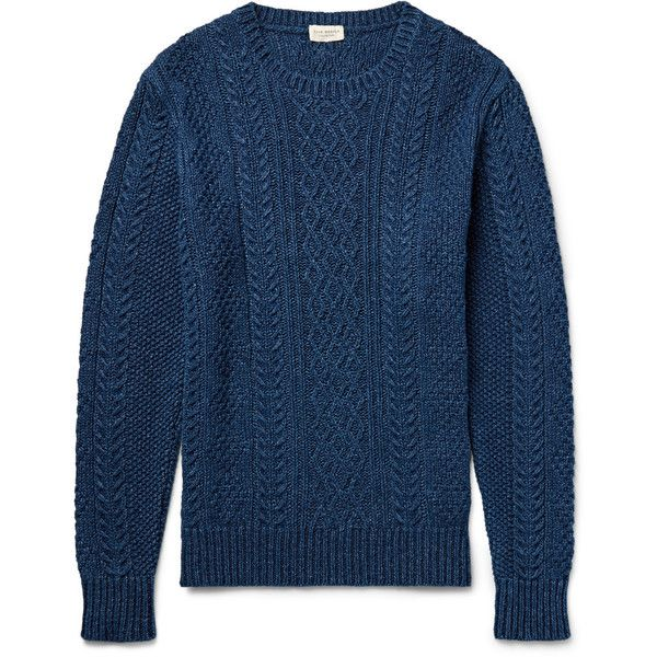Club Monaco Cable-Knit Indigo-Dyed Cotton Sweater (950 RON) ❤ liked on Polyvore…