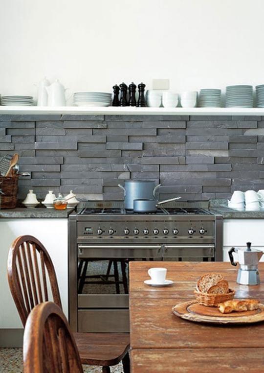 kitchenwalls wallpaper splashback  slate tiles  kitchen
