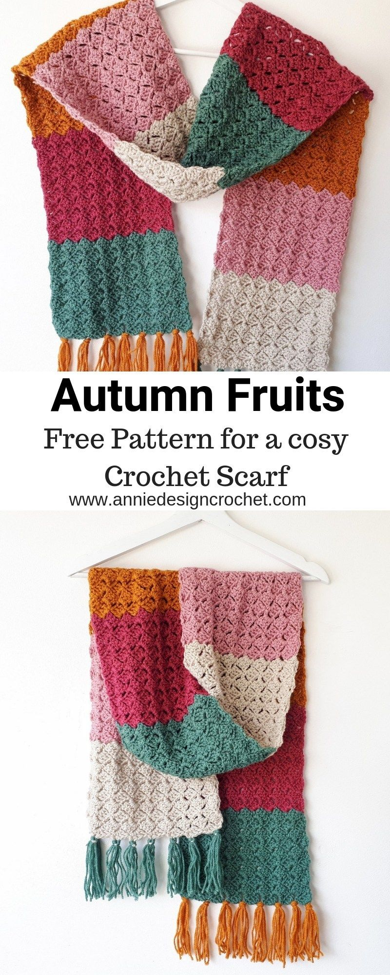 This free pattern for a cosy crochet scarf, is suitable for a beginner and is perfect for cooler weather, to wrap you in all the warmth you will need. The easy repeat pattern makes this project a fast make, you could rustle up a trendy color-block scarf for everyone on your gifting list! Instructions in US and UK Crochet terms.The bold and vibrant colors make a great statement accessory to brighten up a neutral outfit. #crochetscarves
