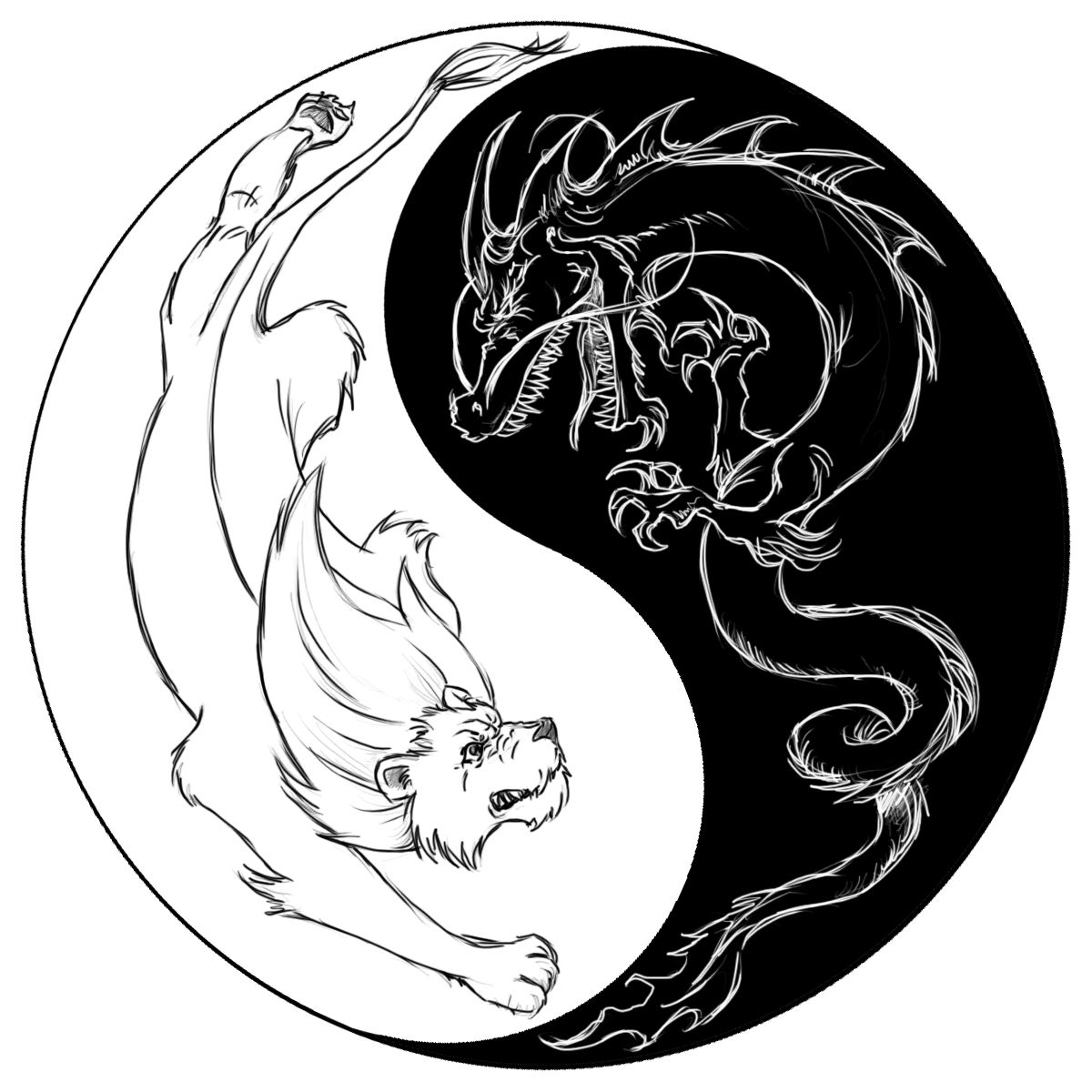 Dragon tiger yin yang symbol tattoos google search tattoo ideas its a tatoo design i made for my friend ian i told him its usually a dragon and a tiger and that the lion isnt one of the chinese zodiac buycottarizona Choice Image