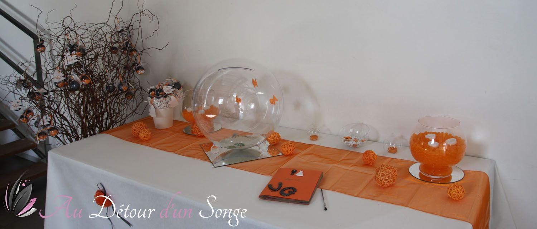 D coration mariage th me poissons rouges orange gris for Deco poisson rouge
