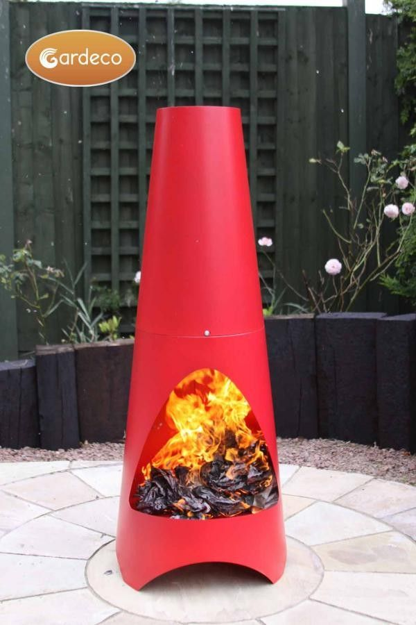 Perfect Oslo Steel Chiminea In Red With Fire