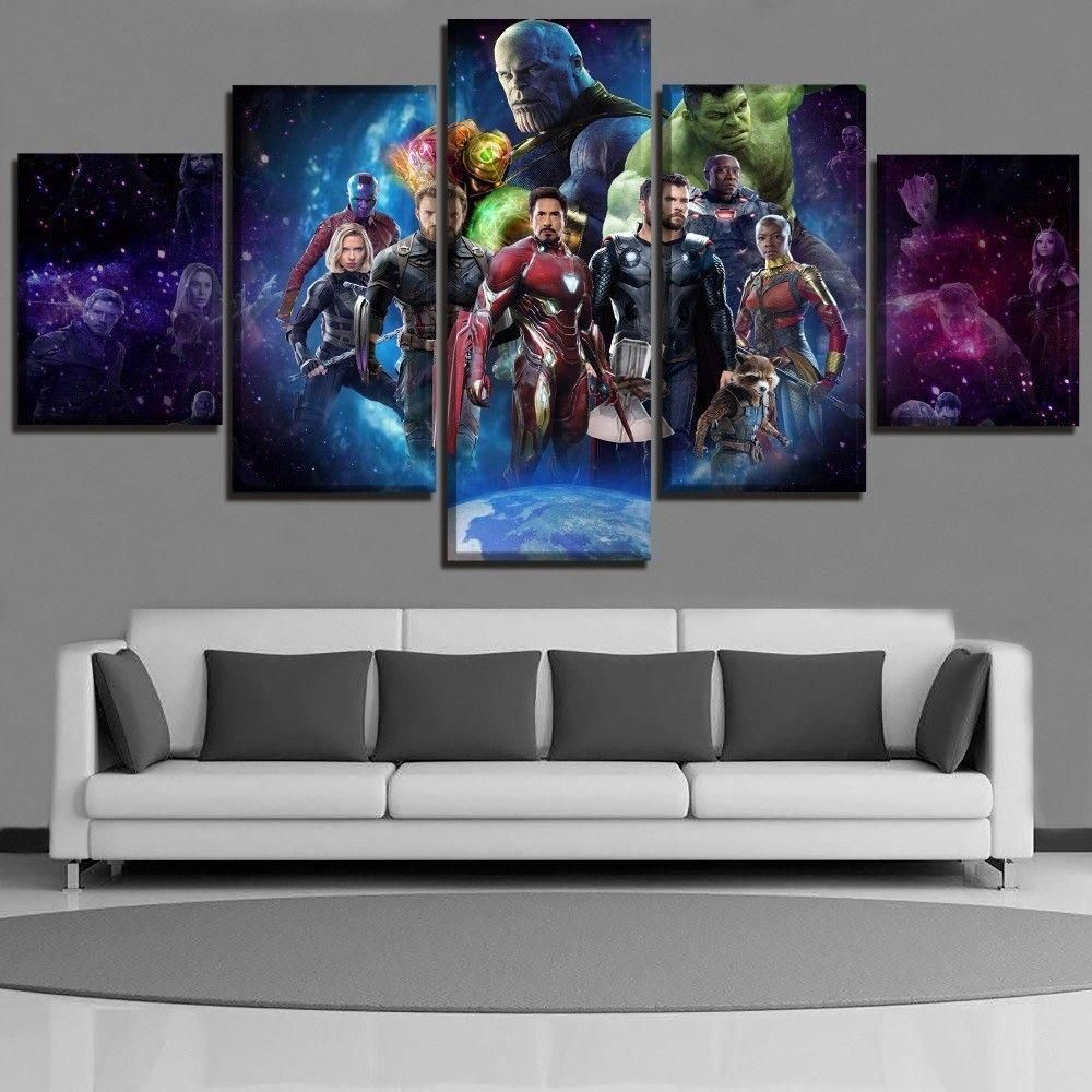 Movie Avengers 3 Infinity War Poster 5 Panel Superheroes Picture Wall Art Poster Star Wars Canvas Painting Retro Painting Poster Wall Art