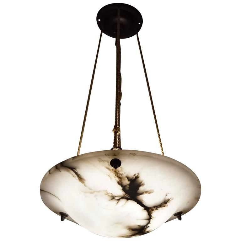 Art Deco White And Black Alabaster Pendant X2f Chandelier With
