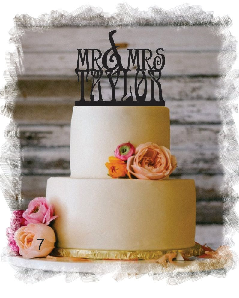 Monogram Wedding Cake Topper - Mr and Mrs Personalized Acrylic Cake Topper With Your Last Name - Special Custom Personalized Cake Topper