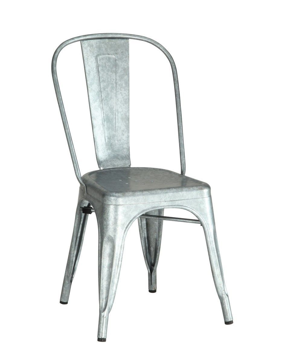 Four In Stock Metropolis Galvanized Metal Side Chairs 14 25 L X 18 W 33 H 10 69