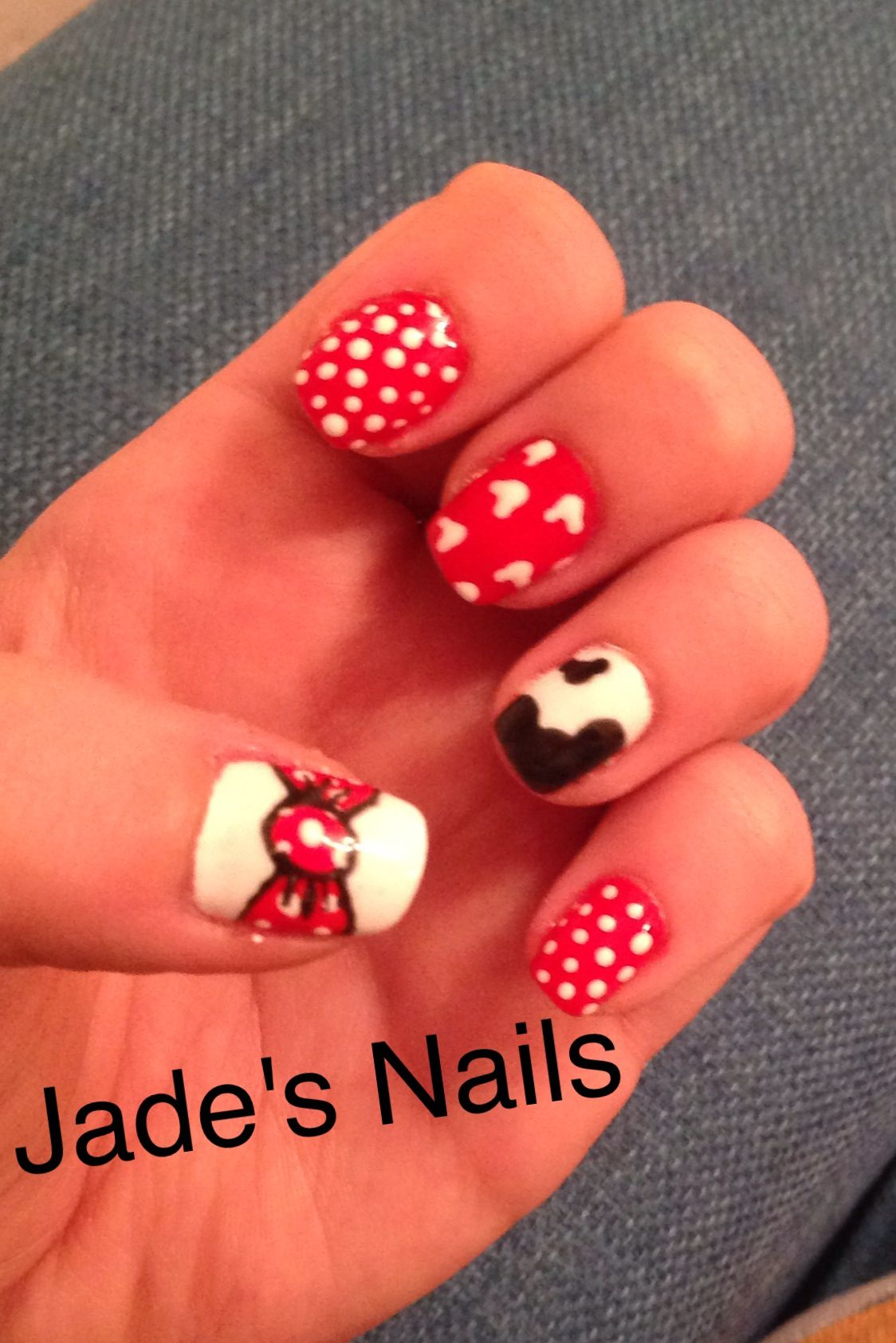 UV Gel Mickey Mouse Disney hand painted nail art | Nails | Pinterest