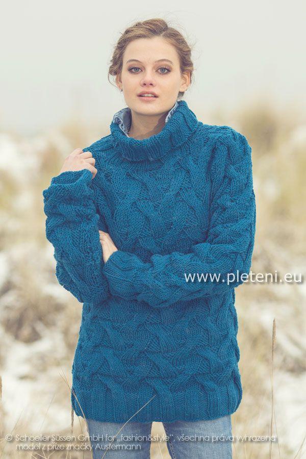 a482163ce49f dámský ručně pletený svetr rolák z příze Merino 85