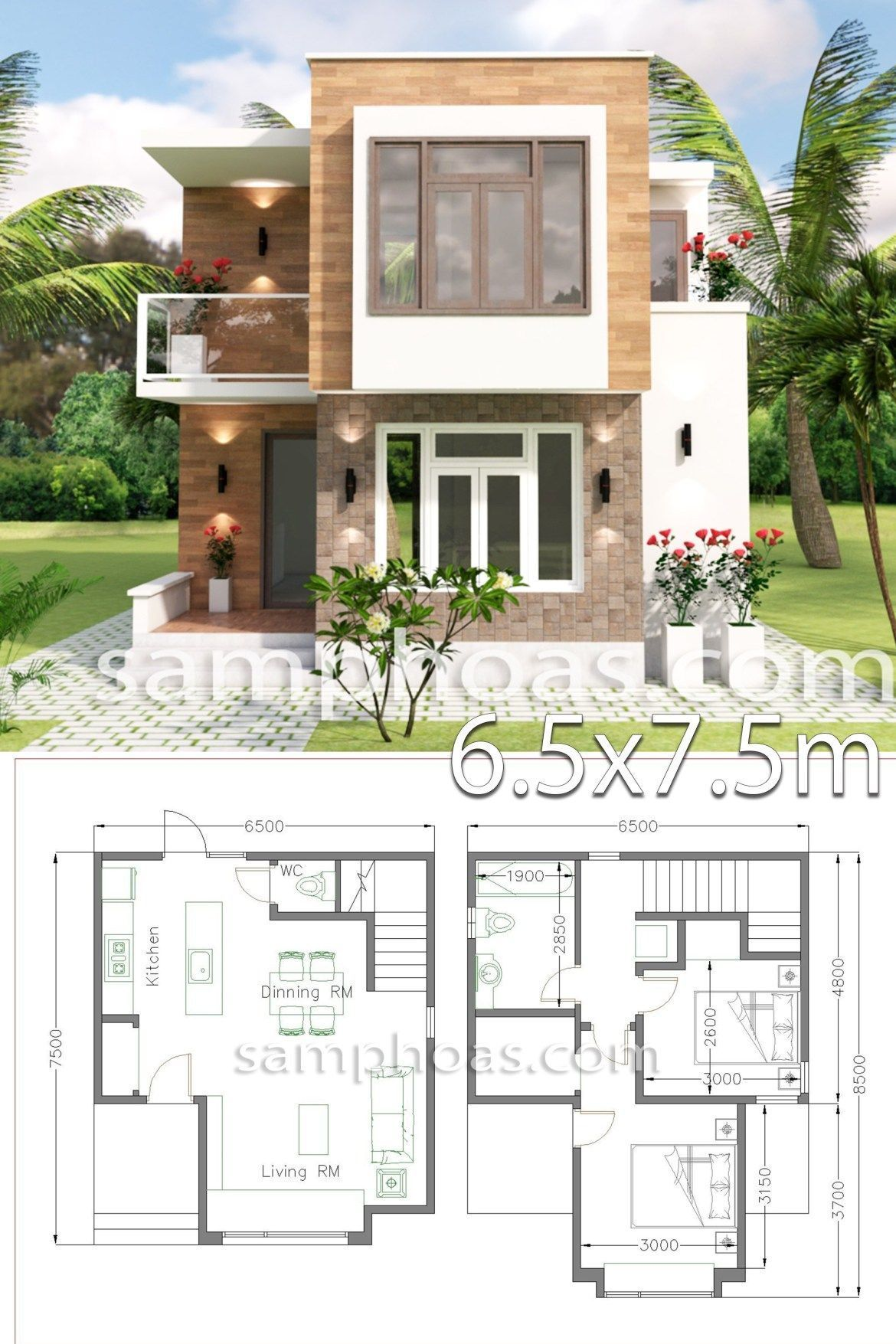Small House Design with Full Plan 6.5x7.5m 2 Bedrooms - SamPhoas Plan - Small House Design with Full Plan 6.5×7.5m 2 Bedrooms – SamPhoas Plansearch - #65x75m #bedrooms #design #full #house #LivingRoomDesigns #ModernHouseDesign #ModernInteriorDesign #plan #samphoas #small