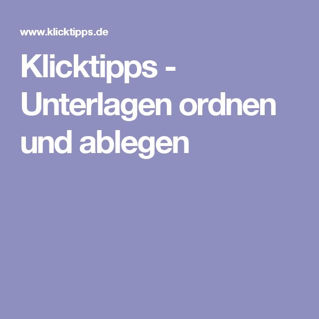 Klicktipps - Unterlagen ordnen und ablegen