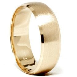 Mens 14k Yellow Gold Wedding Band 8mm Ring Brushed Beveled Edge Size 7 12