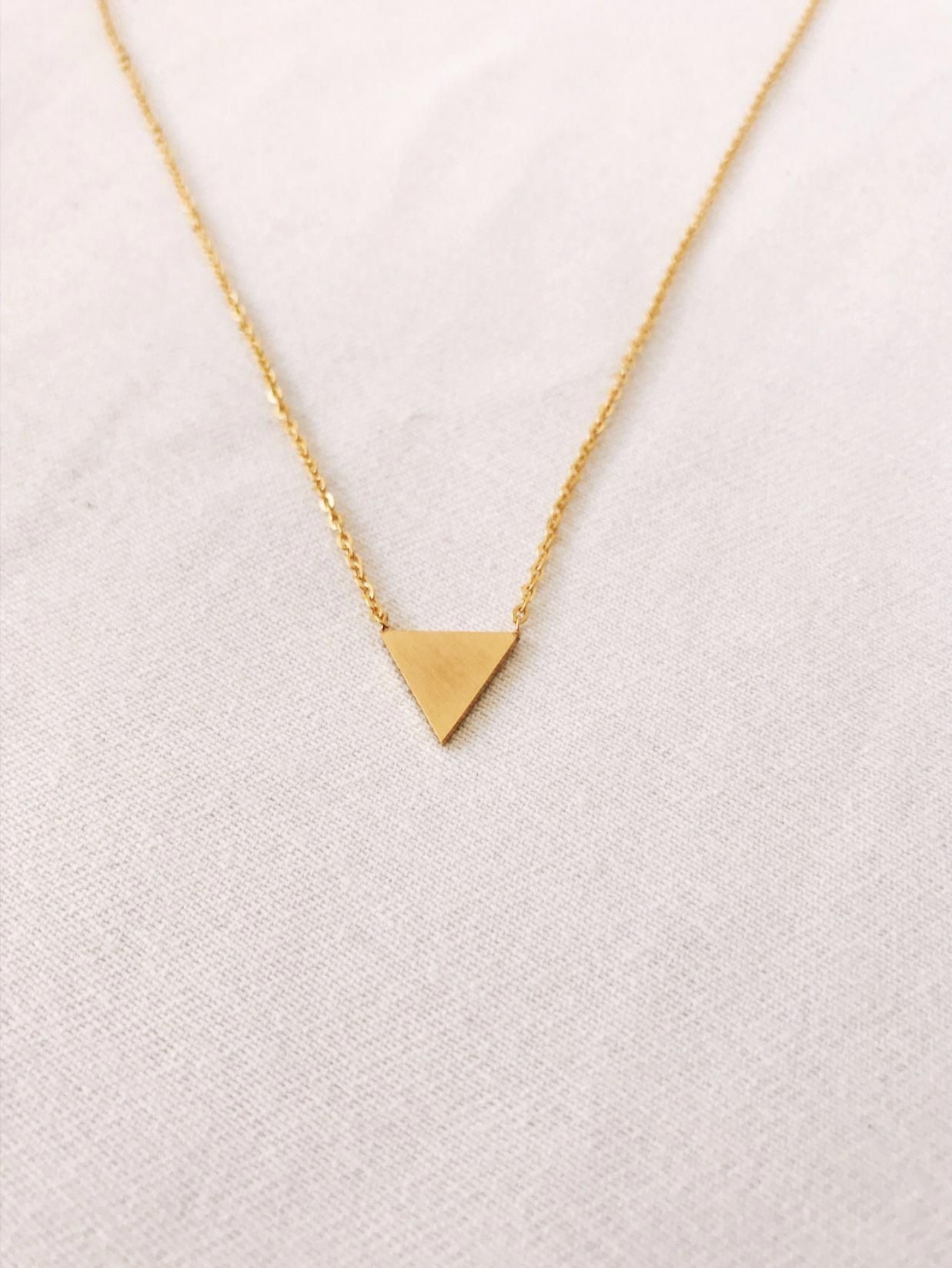 Get To The Point And Make A Statement With This Little Gold Triangle Necklace This Statement Neck Gold Triangle Necklace Star Charm Necklace Triangle Necklace