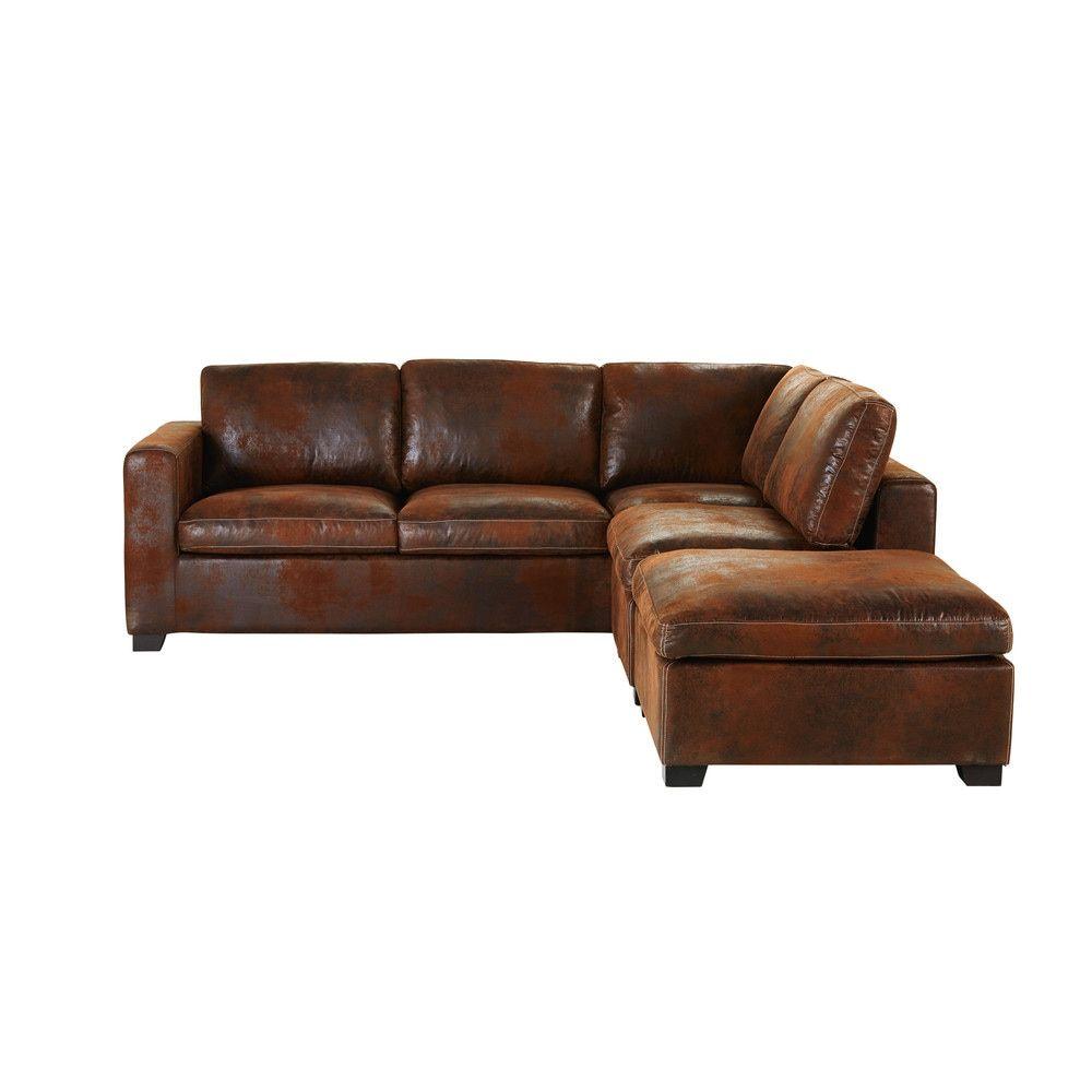 Cuscini Su Divano Marrone divani angolaro trasformabile marrone in crosta di pelle 5
