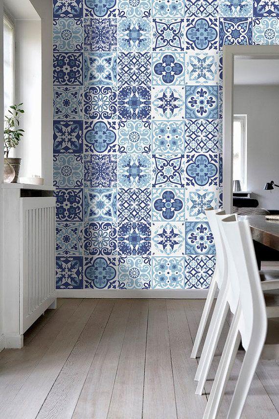 kitchen tiles portuguese blue tiles stickers tiles decals tiles for kitchen backsplash or bathroom pack of 48 skubptiles
