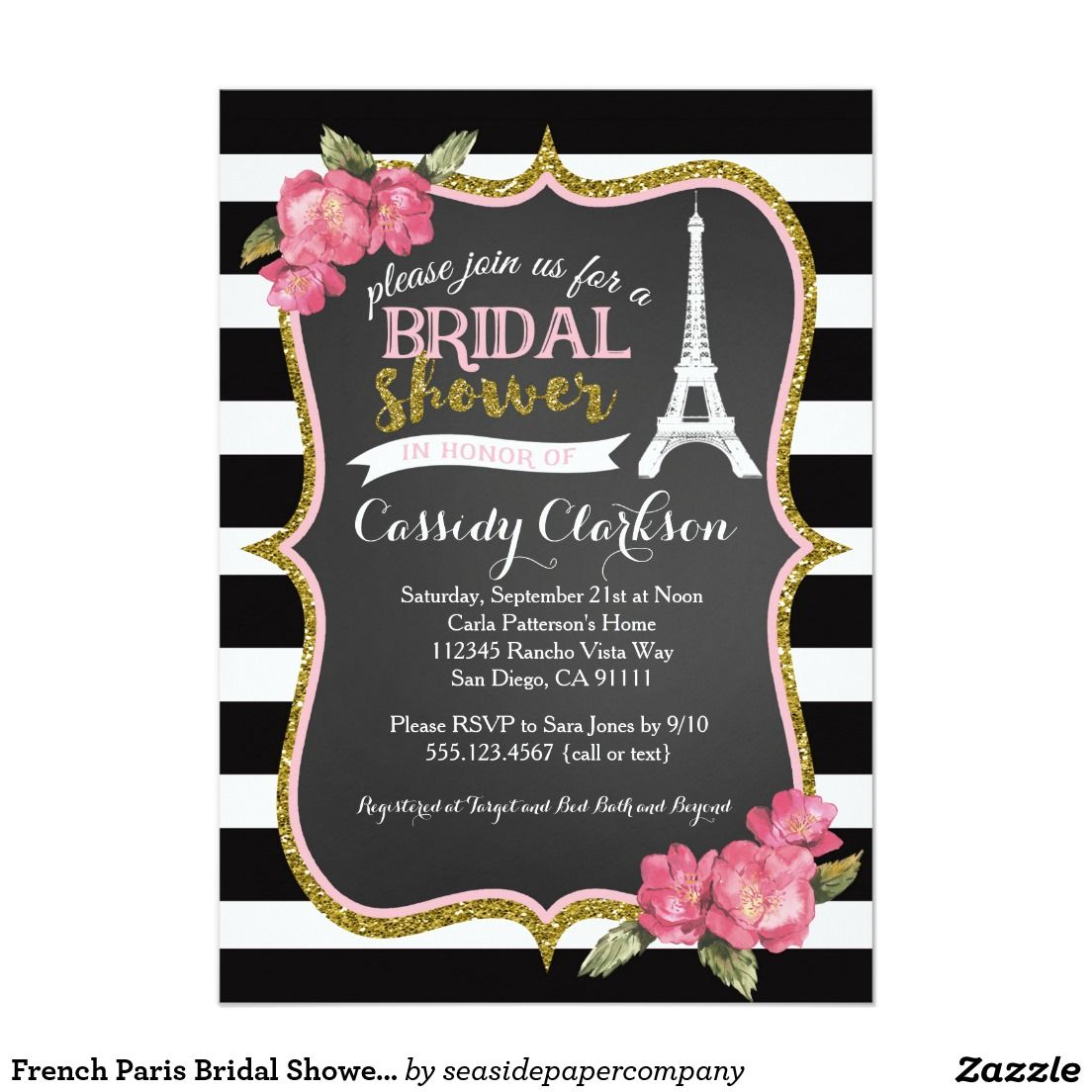 wedding party invitation message%0A French Paris Bridal Shower invitation