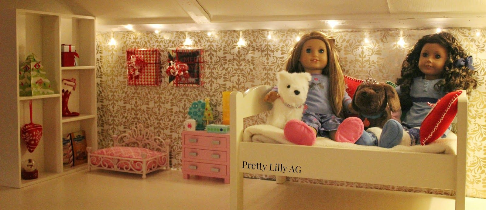 Pretty Lilly an American : Christmas Doll Bedroom Decorations ... on american doll bathroom, american doll classroom, american doll living room, american doll sewing projects, american doll furniture sale, american doll kitchen, american doll beds, american doll couches, american doll clothes storage, american doll house dimensions, american doll house tour,
