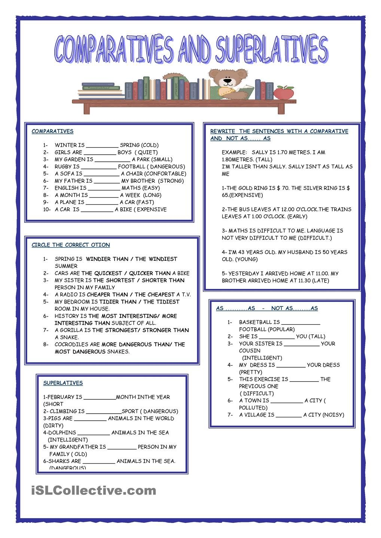 Comparatives And Superlatives English Worksheets