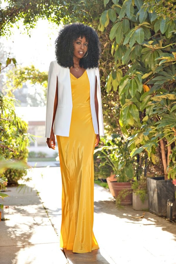 A Woman S Guide To Fashion Do S And Don Ts White Cape Blazer Maxi Slip Dress Yellow Maxi Dress