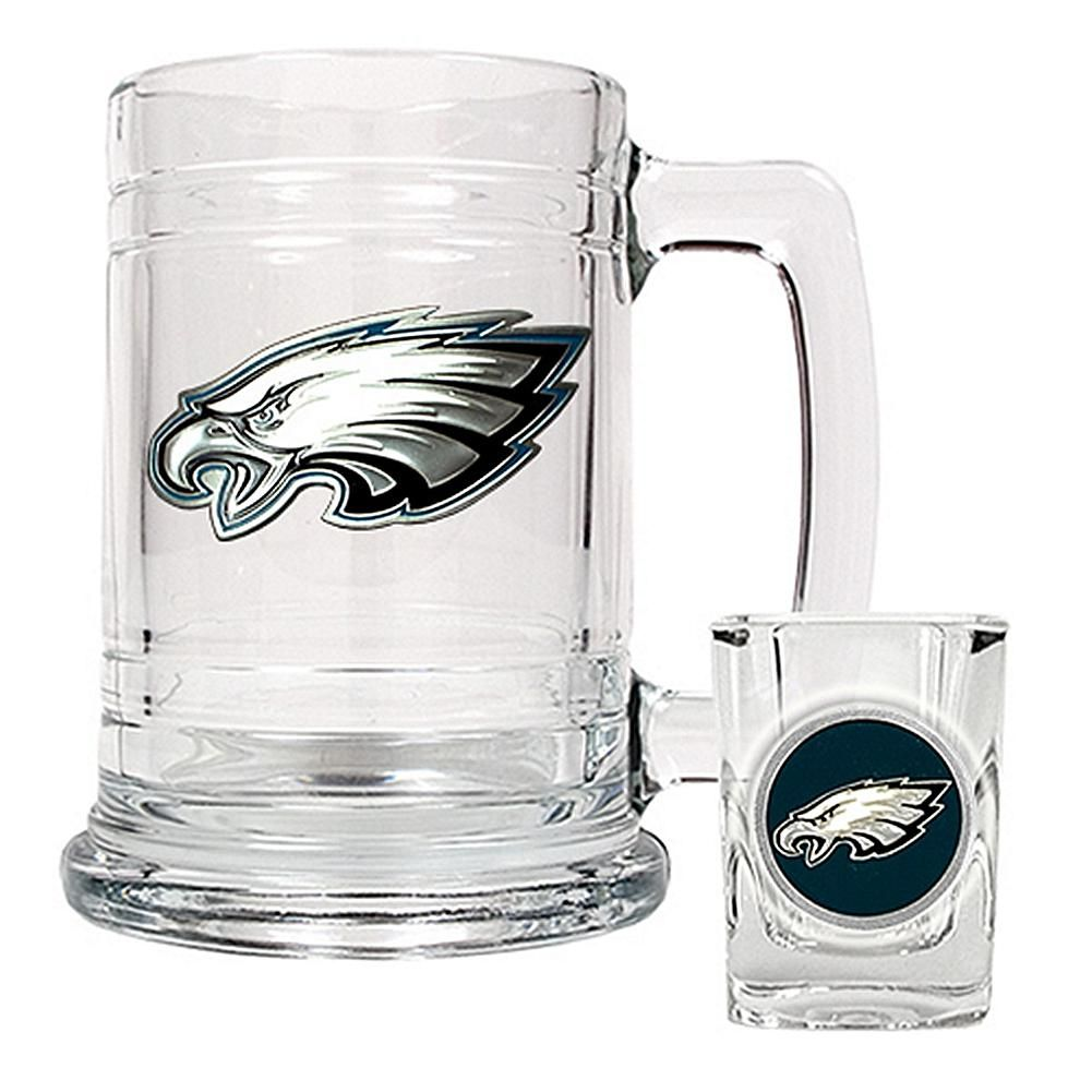 for a shot and a beer. New England Patriots Beer glass stein and shot glass set