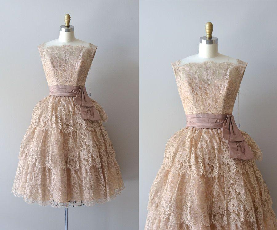 vintage 50s lace dress / 1950s lace party dress / If by DearGolden, $455.00