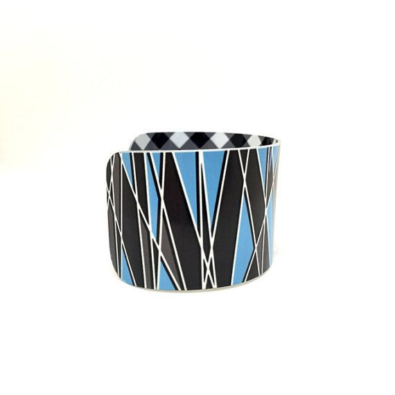 Geometric Aluminum Cuff Bracelet - Geometric Pattern - Aluminum Bangle - Black…