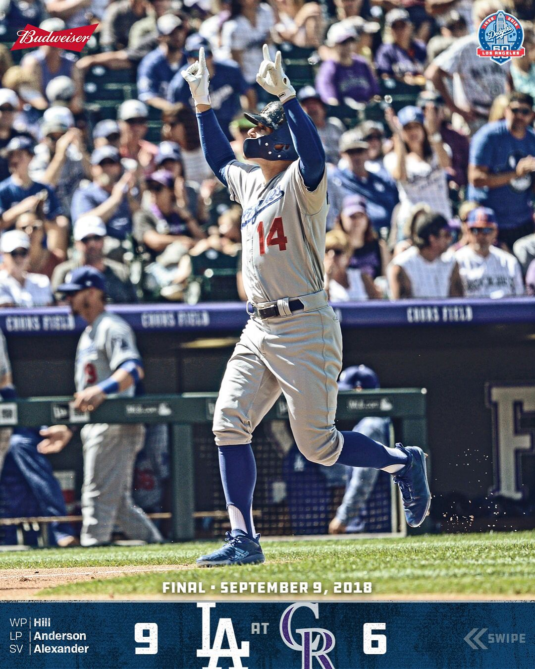 RECAP   kikehndez homers  redturn2 goes 4-for-5 with a two-run home run to  lift  Dodgers in 9-6 victory over Rockies and move within a half-game of  first. ec660fd6636