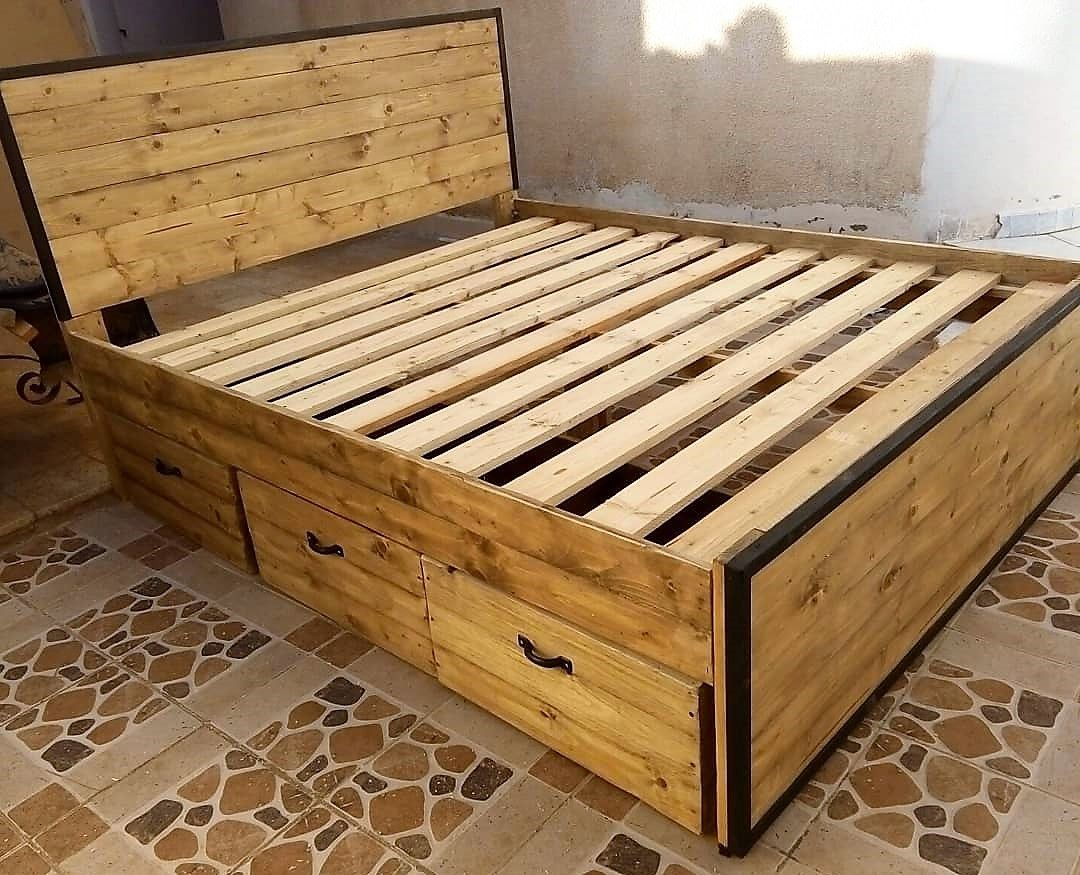 White Wooden Storage Bed Frame With Drawers 4ft6 Double With Images White Wooden Bed
