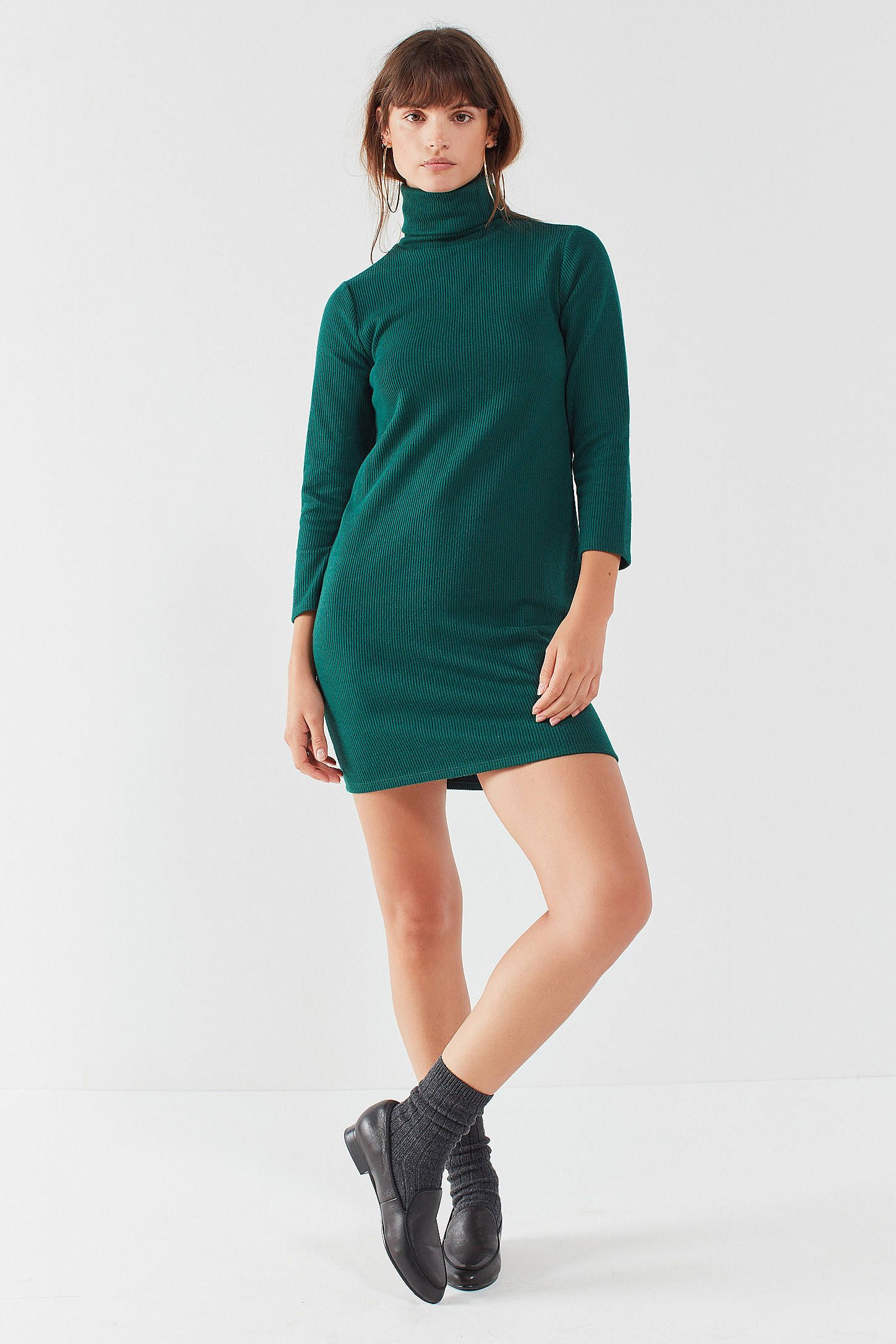 Pins Needles Tucker Green Ribbed Turtleneck Mini Dress [ 2175 x 1450 Pixel ]