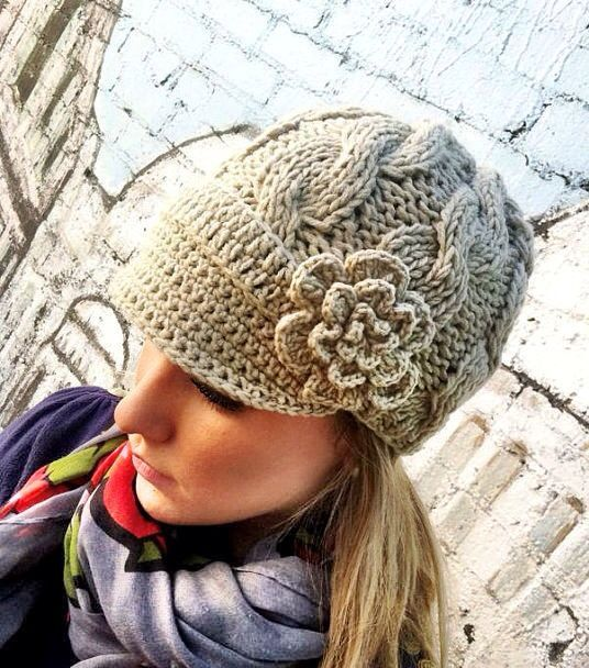 TAN Brimmed Cable Knitted Hat Chunky Cap with by ThreeBirdNest, $29.50