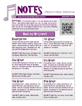music classroom newsletter template classroom resources