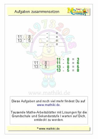 Aufgaben zusammensetzen: Subtraktion (ZE−E=E) bis 20 - ©2016, www ...