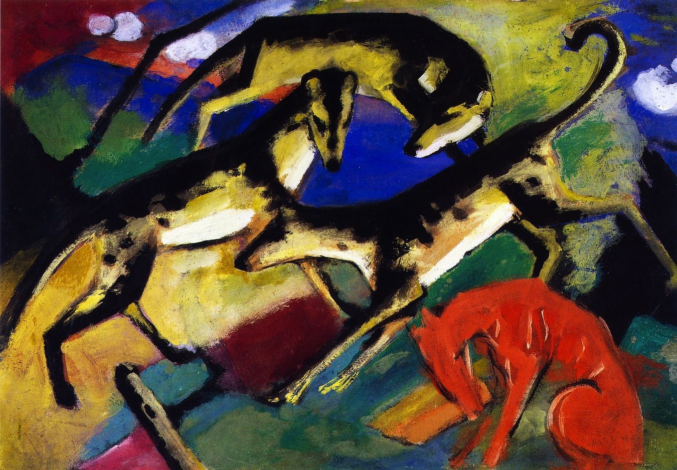 Athenaeum - Playing Dogs Franz Marc Art Greyhound