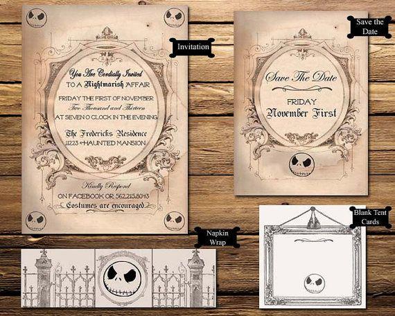 nightmare before christmas halloween party printable invitation suite - Nightmare Before Christmas Wedding Invitations