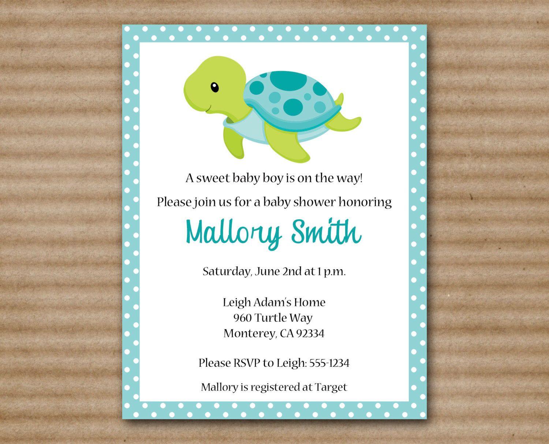 Printable Sea Turtle Invitation Baby Shower Under The Ocean Beach