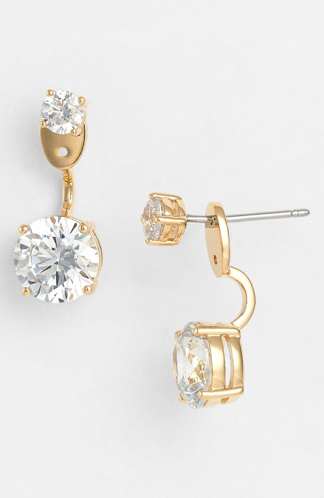 These sparkling and oh-so-unique prong-set drop down earrings add a fun  unexpected detail because they drop from the back of the earlobe rather  than the ... e09d12807799