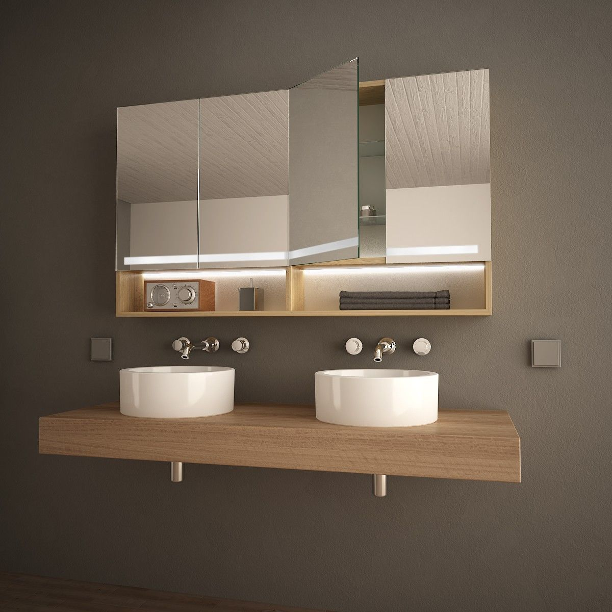 Spiegelschrank Mit Holz Ablage Kaloria Badezimmer Spiegelschrank Spiegelschrank Spiegelschranke Furs Bad